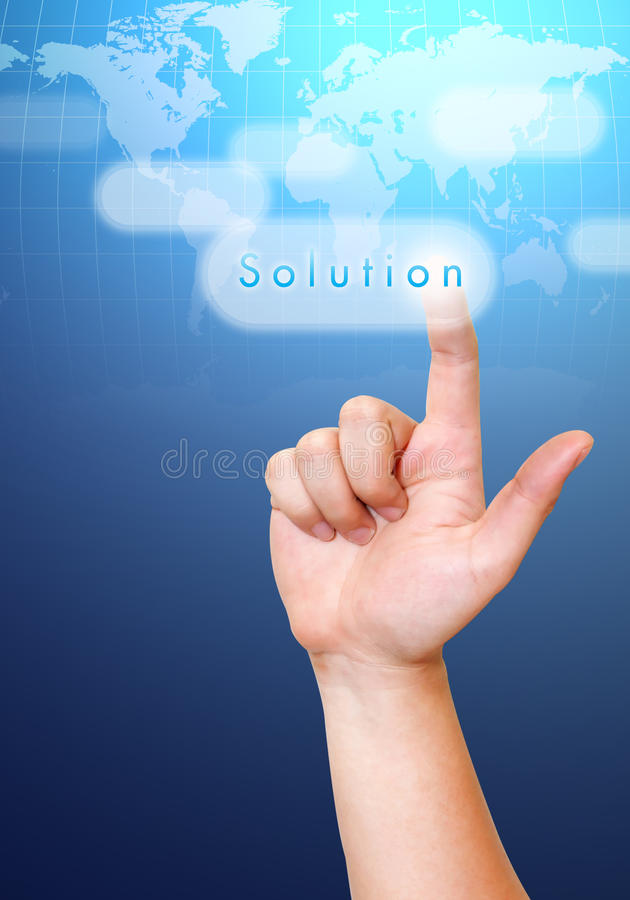 Hand pushing. Solution button on a touch screen interface royalty free stock photos