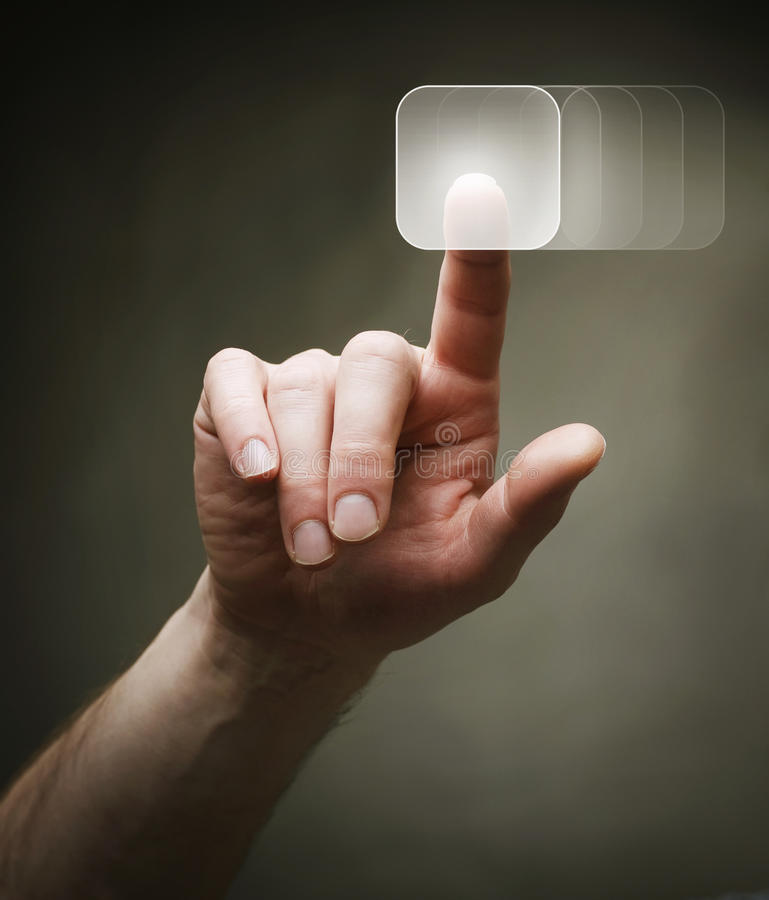 Hand pushing the button. Mans Hand Pushing the Button. Choice Concept