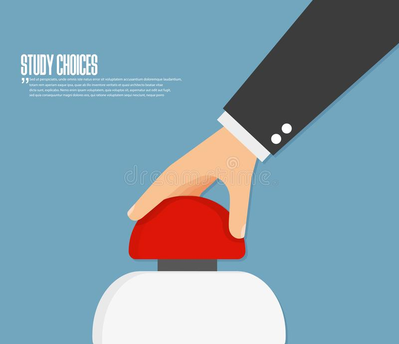 Hand pushing button. Flat design vector royalty free illustration