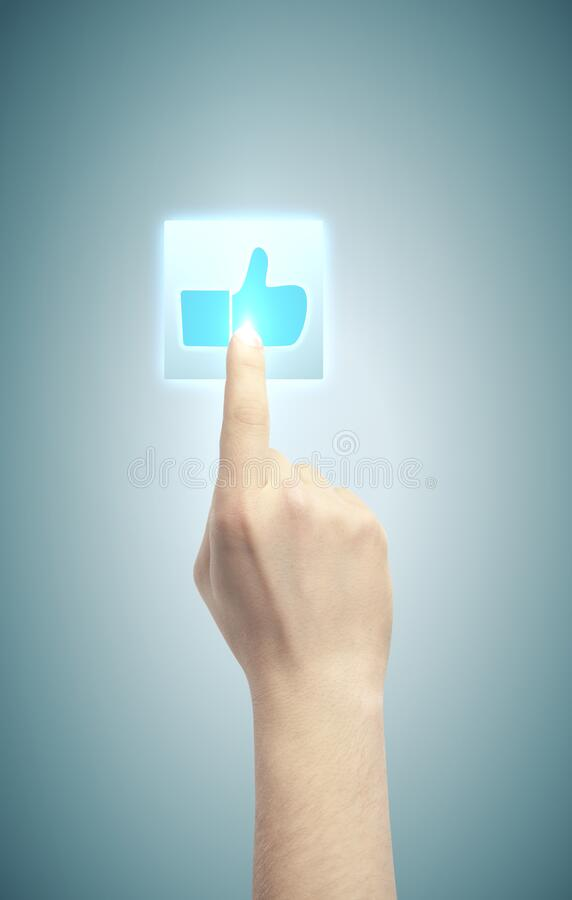 Hand pushing button with like symbol stock images