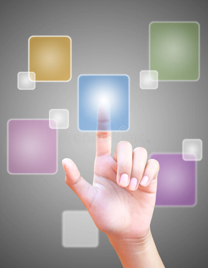 Download Hand Pushing Button On Touch Screen Stock Photo - Image: 25940286