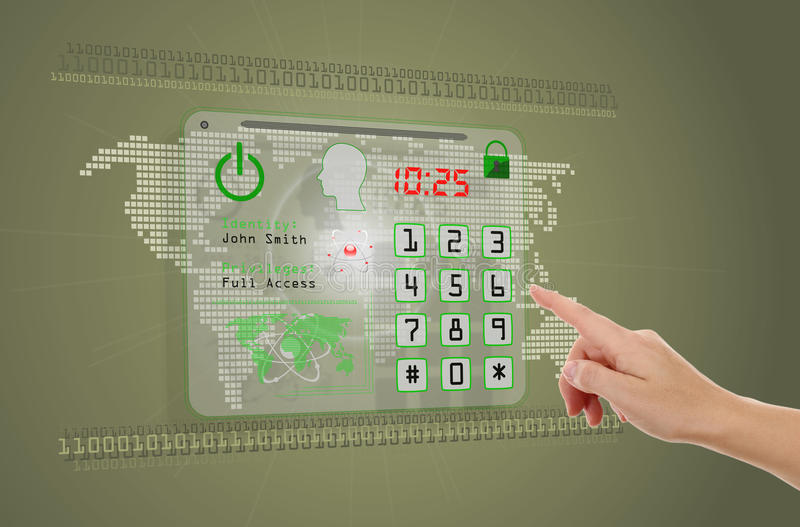 Hand pushing button. Hand pushing touch screen button, concept of security in internet stock images
