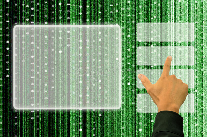 Download Hand Pushing A Button On A Touch Screen Interface Stock Image - Image: 20485605