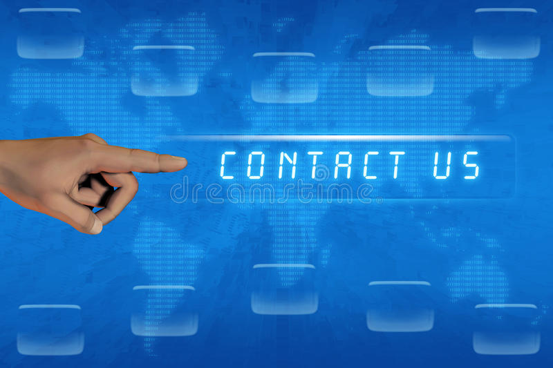 Hand pushing contact us button royalty free stock photo