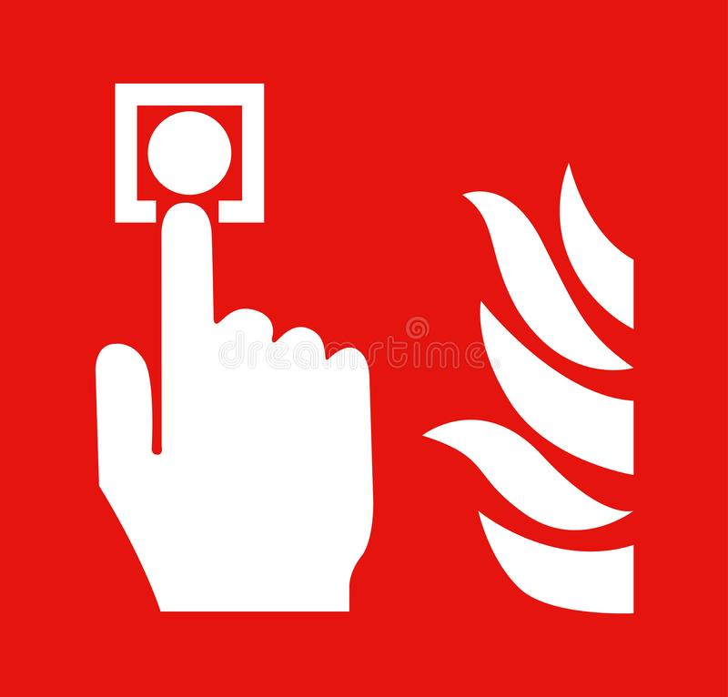 The hand is pushing fire alarm sign switch royalty free stock images