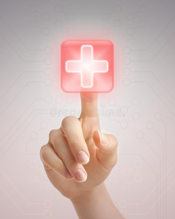 Hand pushing medical button stock image