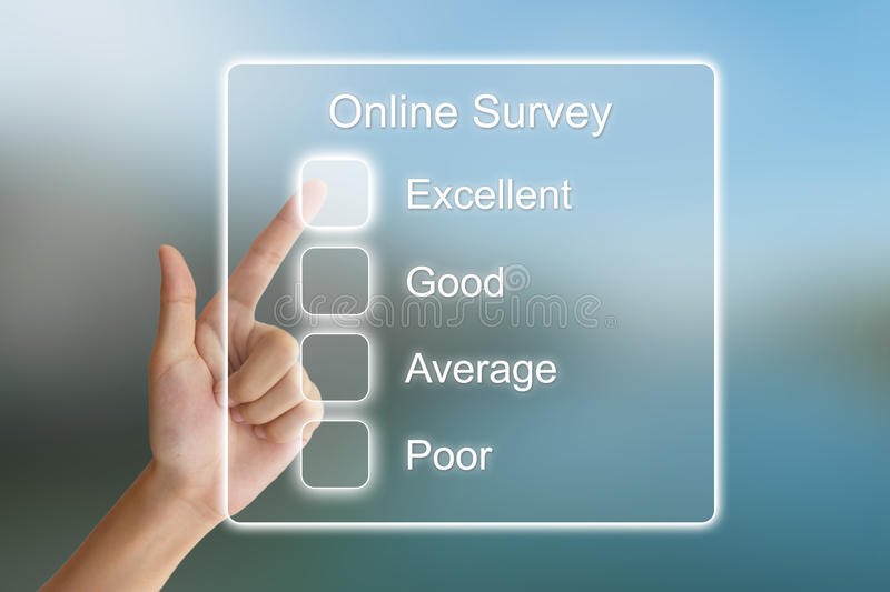 Hand pushing online survey on virtual screen royalty free stock photography