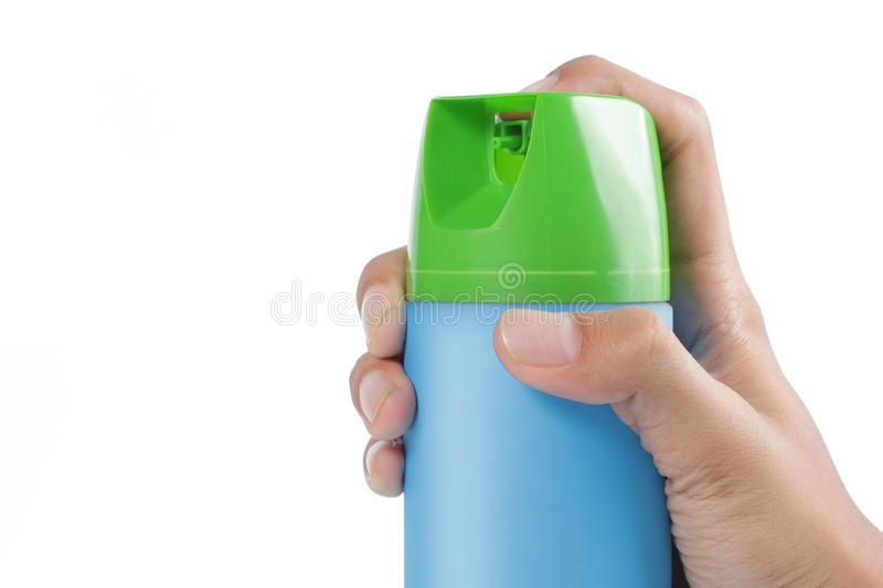 Hand pushing spray can stock images