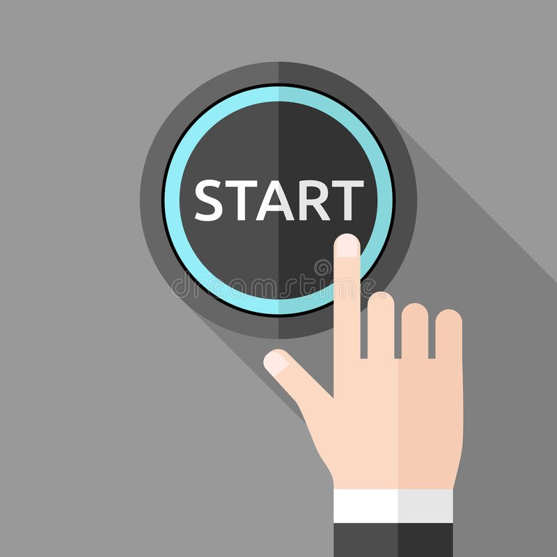 Hand pushing start button royalty free illustration