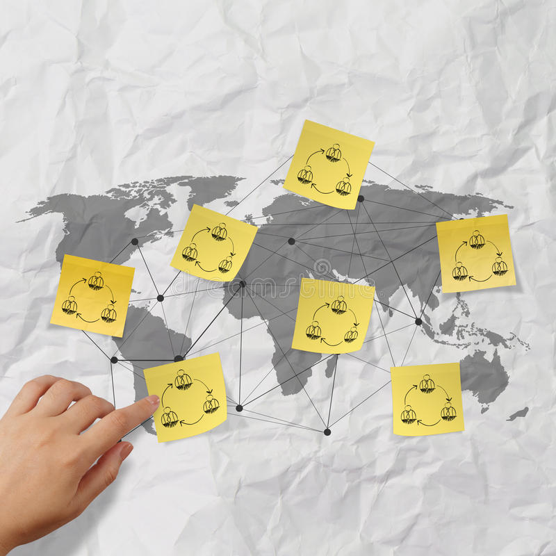 Download Hand Pushing Sticky Note Social Network Icon On Crumpled Paper B Stock Photo - Image of hand, color: 34769552