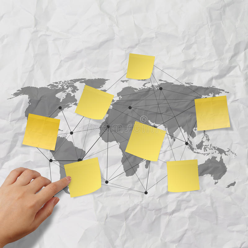 Hand Pushing Sticky Note Social Network Icon Royalty Free Stock Photography