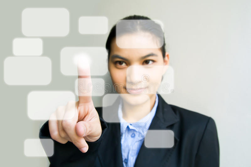 Hand pushing touch screen