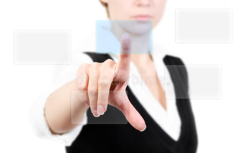 Hand pushing touch screen button royalty free stock image