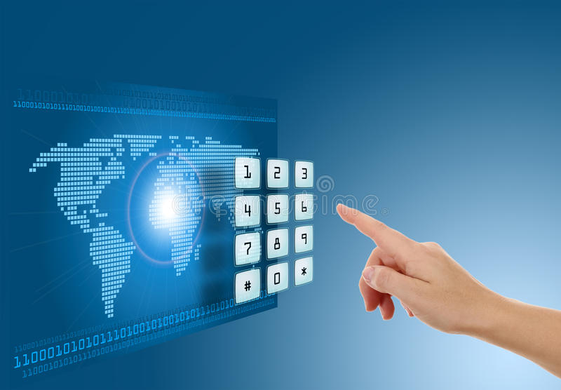 Download Hand Pushing Touch Screen Button Stock Photo - Image: 26129752