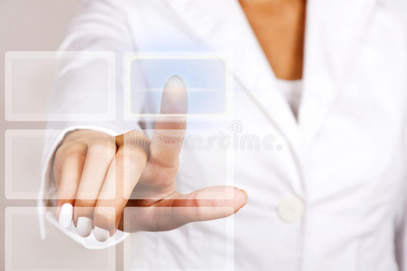 Download Hand Pushing Touch Screen Button. Stock Image - Image: 26328813