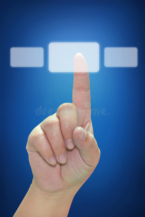 Download Hand Pushing Touchscreen Button Stock Image - Image of choice, hightech: 20762897