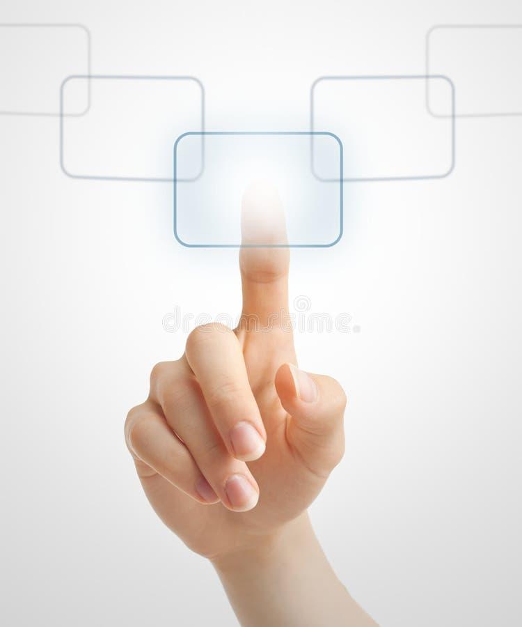 Download Hand Pushing Virtual Button Stock Photo - Image of hightech, futuristic: 20419130