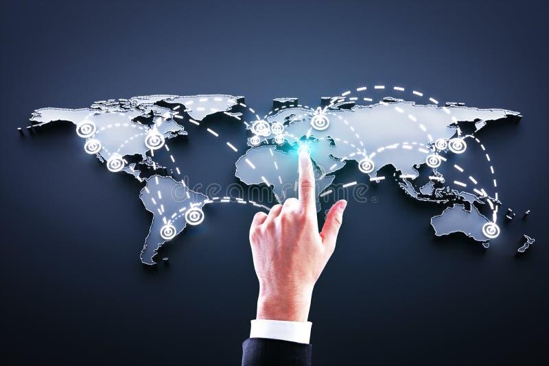 Hand pushing world map royalty free stock images