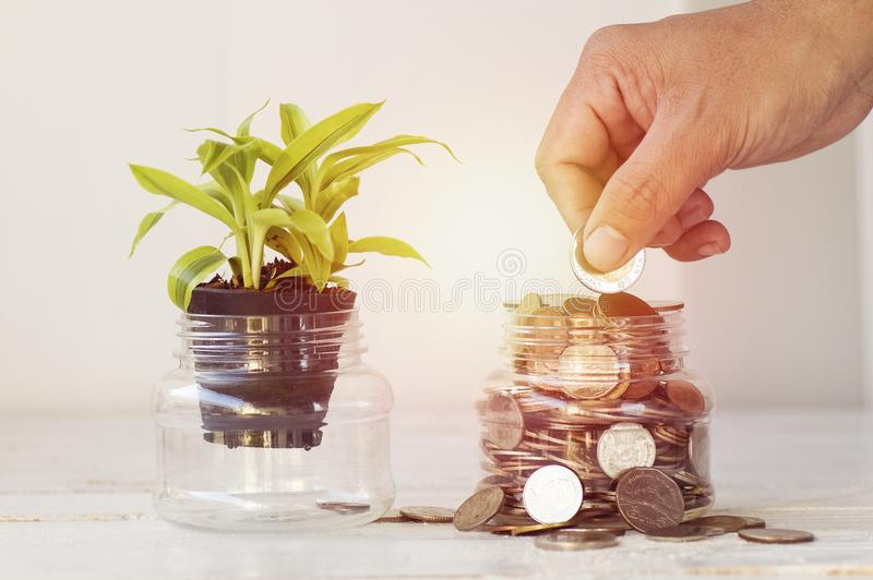 Hand put coin at bottle of money on white background, concept in growth, save and investment. In business stock photo