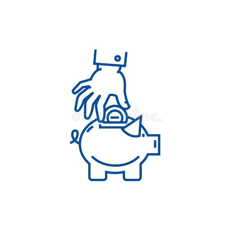 Hand put coin in pig bank line icon concept. Hand put coin in pig bank flat  vector symbol, sign, outline illustration. royalty free illustration