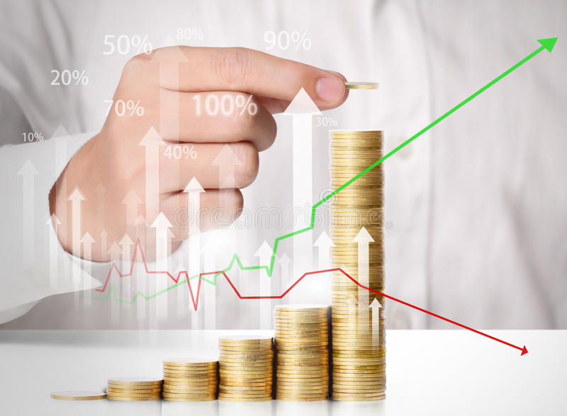 Hand put coin to money stock illustration
