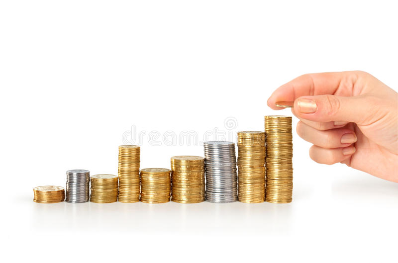 Hand put coin to money staircase