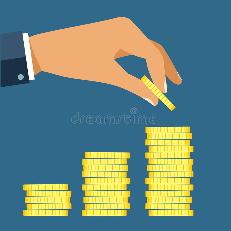 Hand put coin to money staircase. Profit. Making money. For business and finance concept. stock illustration