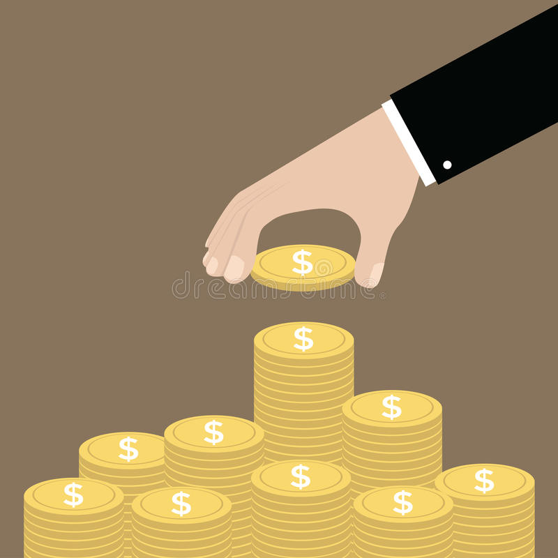 Hand put coin to money staircase. Profit. Making money. For business and finance concept. vector illustration