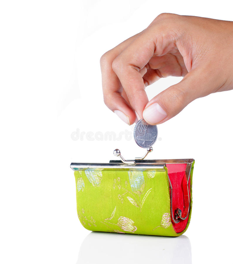 Download Hand Put Coin Into The Wallet Stock Photo - Image: 16164106