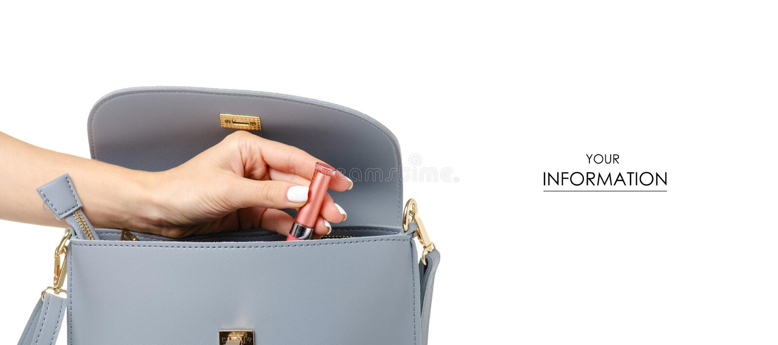 A hand put cosmetic lipstick lip gloss in the female blue gray leather bag pattern royalty free stock images