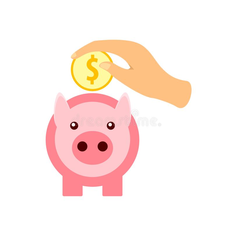 Hand puts a gold coin in a pink piggy bank. vector illustration in flat design vector illustration