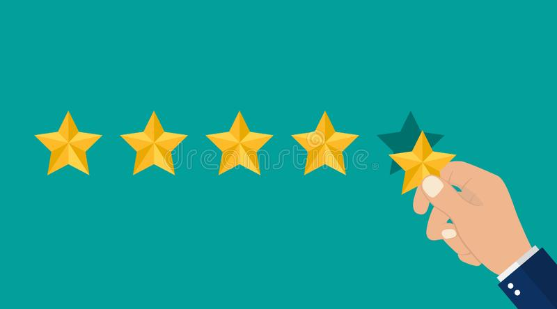 Hand puts 5 stars of rating. Reviews five stars in flat style. 5 stars in top icon. vector stock illustration