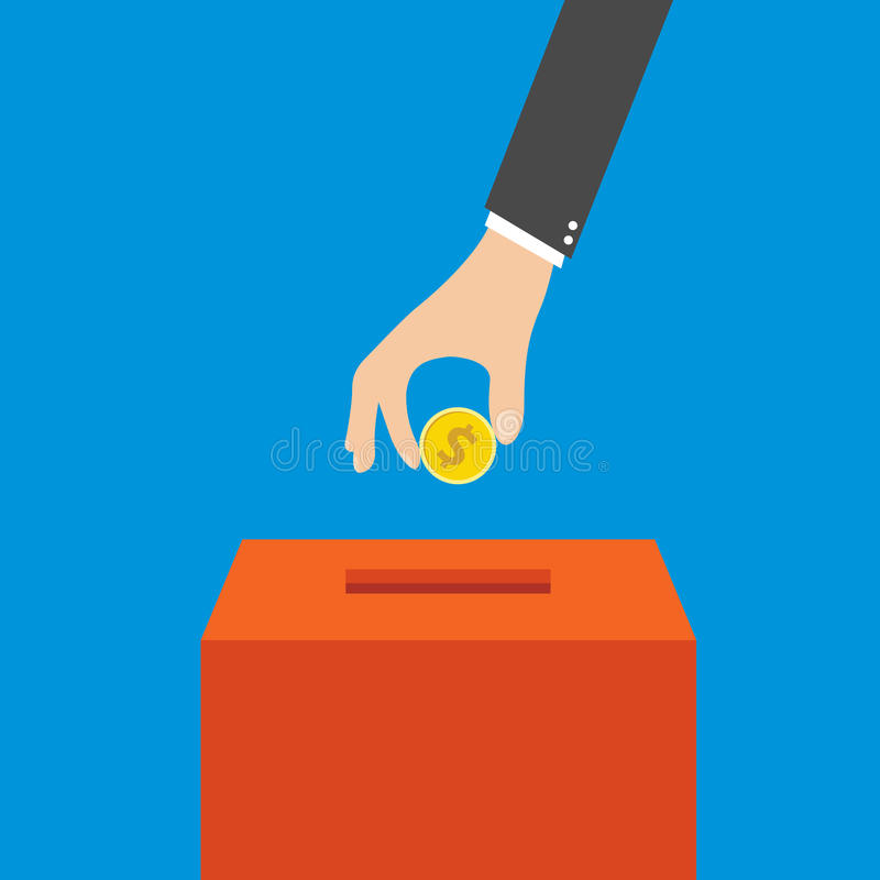 Hand putting coin in the box, vector. Hand putting coin in the box, Flat design. Vector illustration. EPS 10 vector illustration