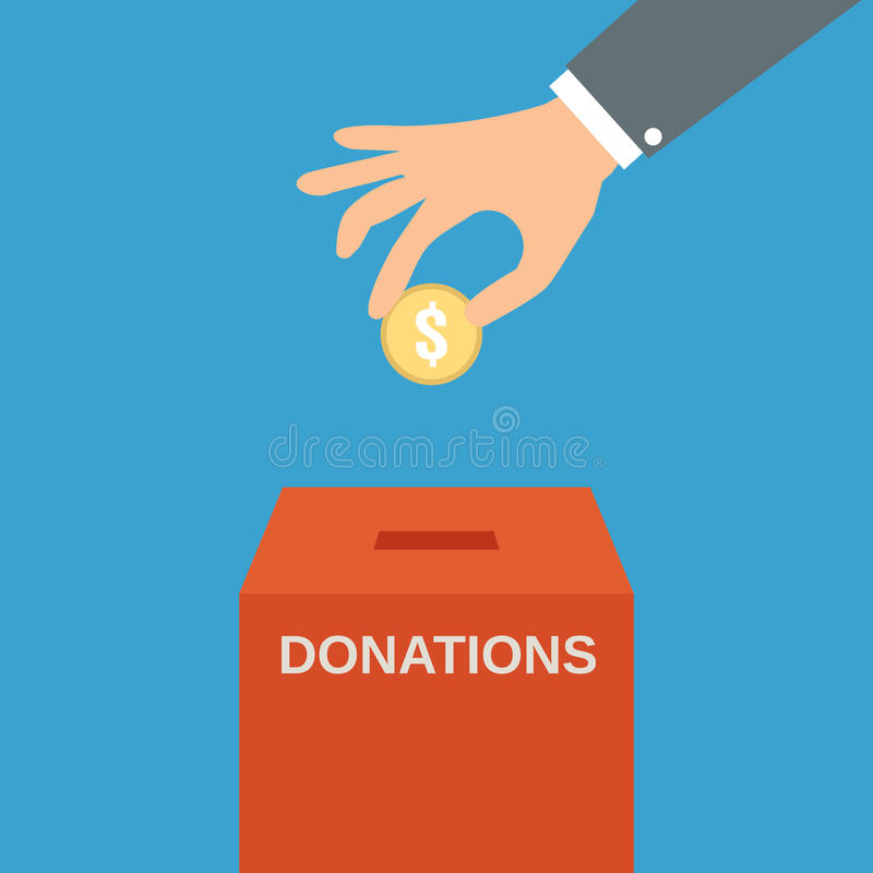 Hand putting coin in the donate box stock illustration
