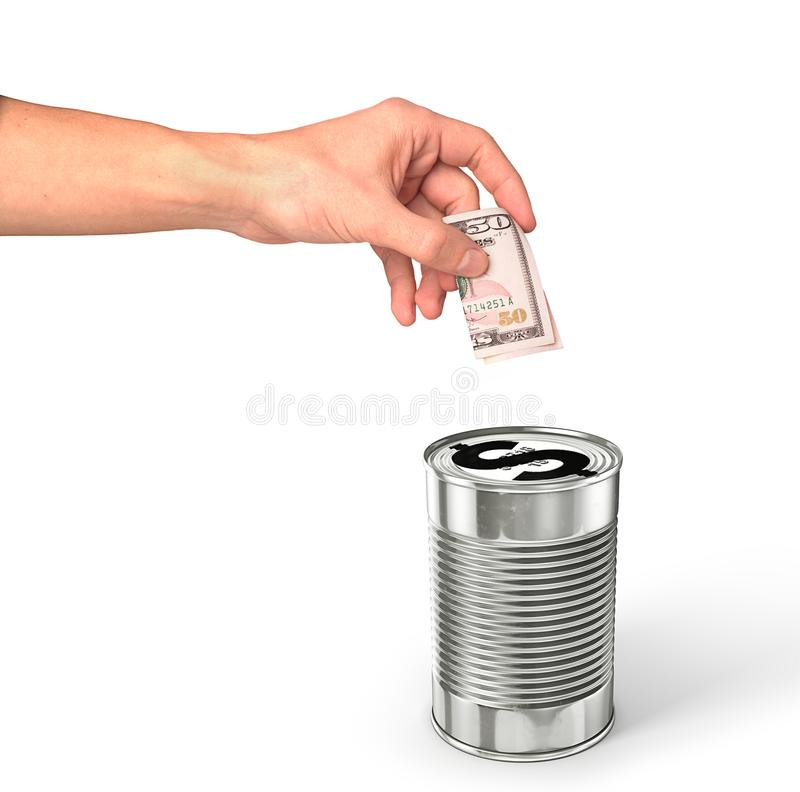Hand putting dollar money in the dollar can royalty free stock images