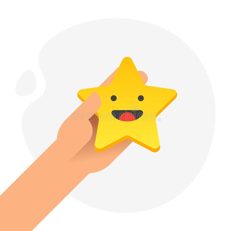 Hand putting five gold stars with smile face on white background. Quality, opinion and success concept. Flat design. Vector vector illustration