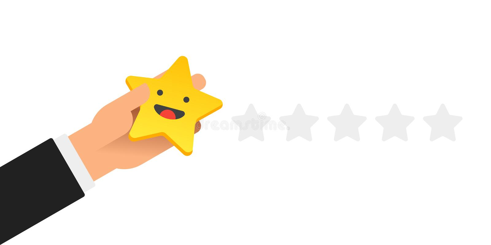 Hand putting five gold stars with smile face on white background. Quality, opinion and success concept. Flat design. Vector royalty free illustration
