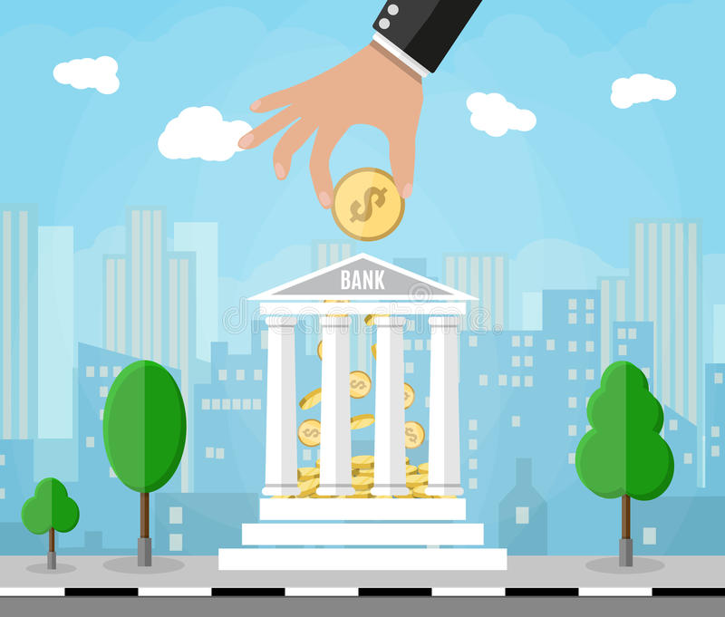 Hand putting golden coin into bank building. Depositing money in bank account. vector illustration in flat style. cityscape background royalty free illustration