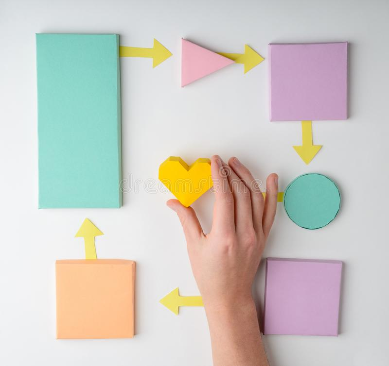 Hand putting heart on flowchart. Diagram. Child`s paper craft, health care and insurance concept royalty free stock images