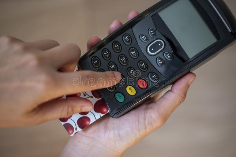 Debit - Credit Card Terminal royalty free stock photos