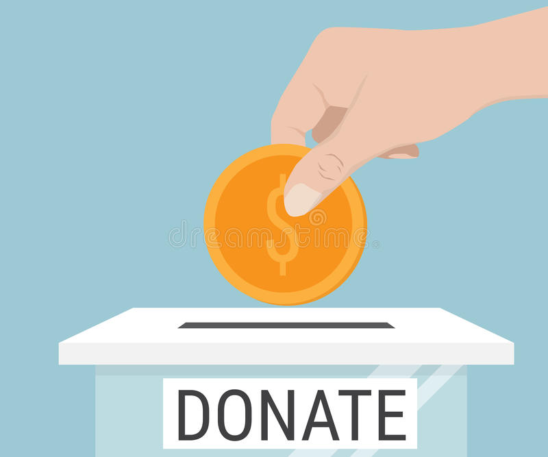 Hand Putting Money Coin To Donate Box stock illustration