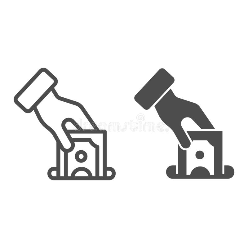 Hand putting money line and glyph icon. Deposit vector illustration isolated on white. Donation concept outline style stock illustration