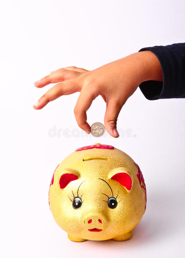 Hand putting money into saving pig, finance theme. The Hand putting money into saving pig, finance theme royalty free stock image