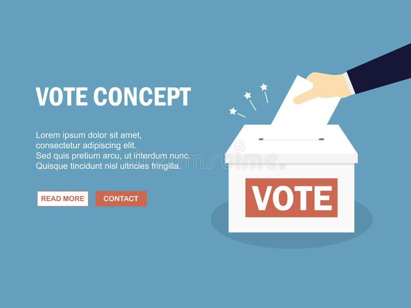 Hand putting paper in the ballot box. Vector illustration stock illustration