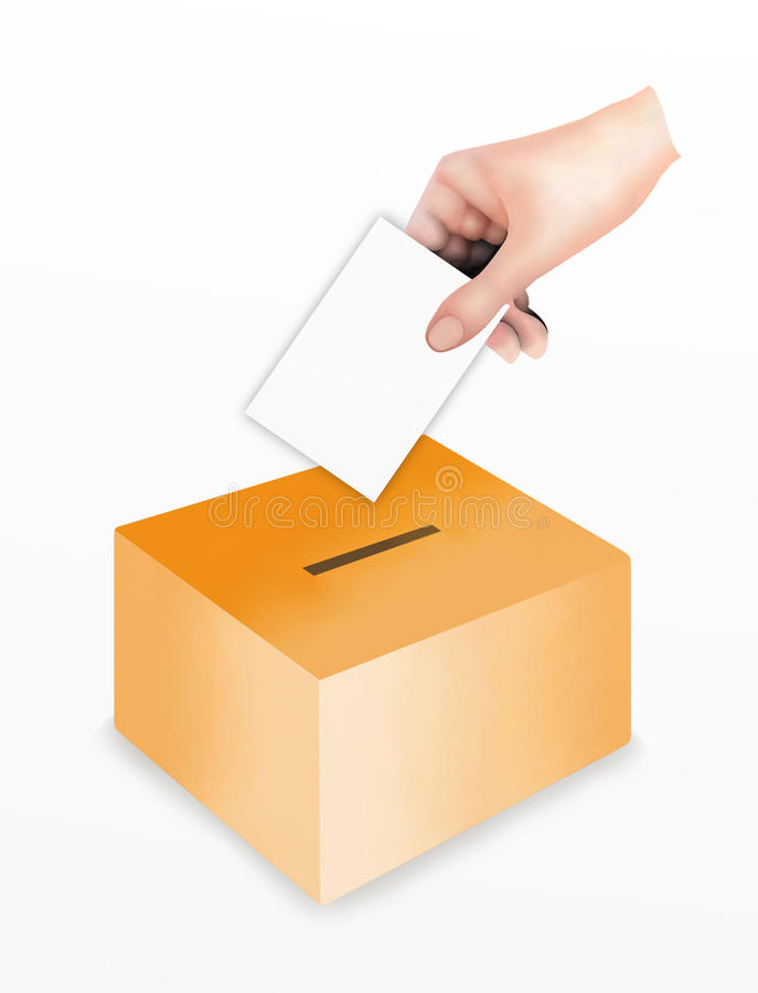 Hand Putting A Voting at the Ballot Box stock illustration