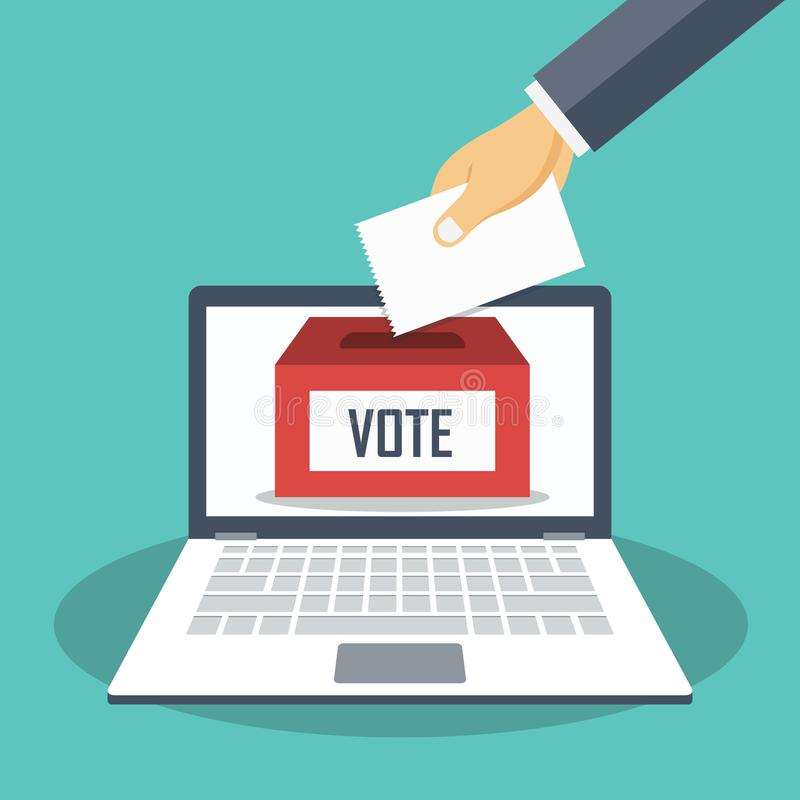 Hand putting voting paper in the ballot box on a laptop screen. Voting online concept. Flat vector royalty free illustration
