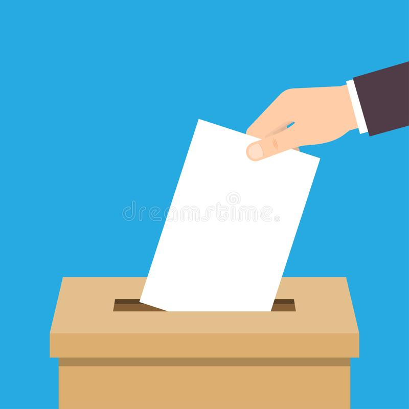 Hand putting voting paper in ballot box royalty free illustration