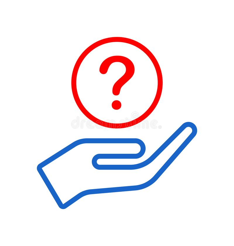 Hand giving question icon logo royalty free illustration