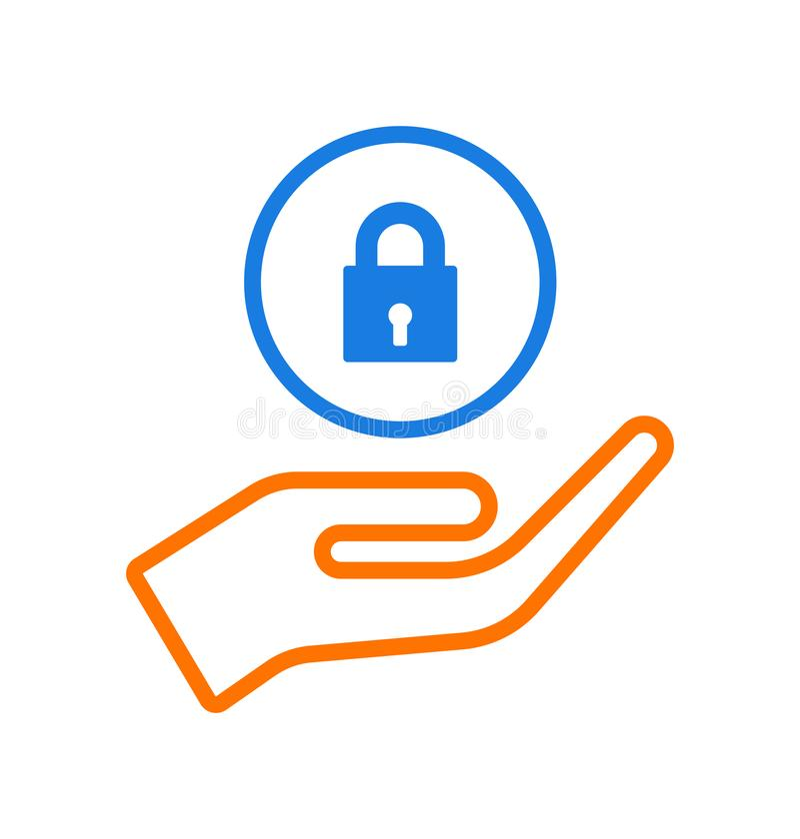Hand giving padlock icon logo stock illustration