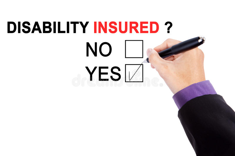 Hand with a question of disability insured stock photos